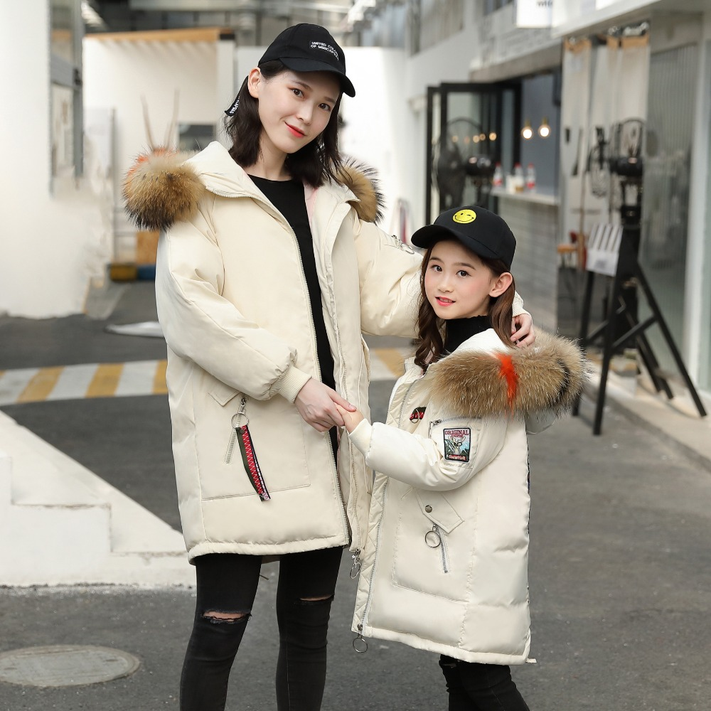 XYF1826 Girl Winter White Duck Down Coat Child Big Fur Collar Keep Warm Thick Hooded kids Jacket Long Outerwear Boys Windbreaker