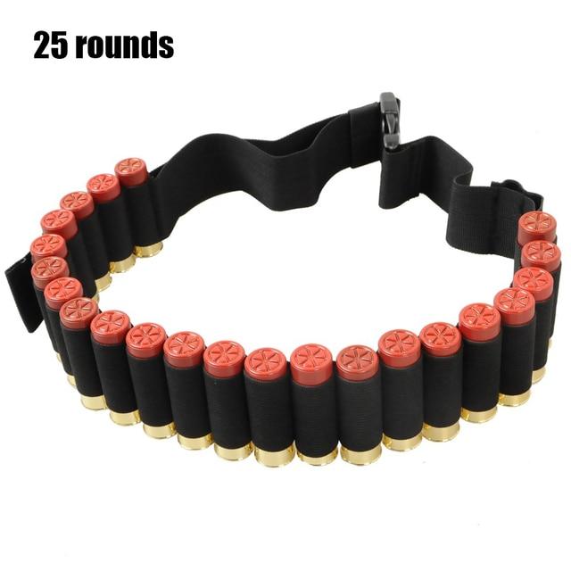 Tactical 25/50 Rounds Ammo Holder Cartridge Belt 12Gauge Bullet Belt Airsoft Hunting Shotgun Shell Bandolier Waist Belt 1
