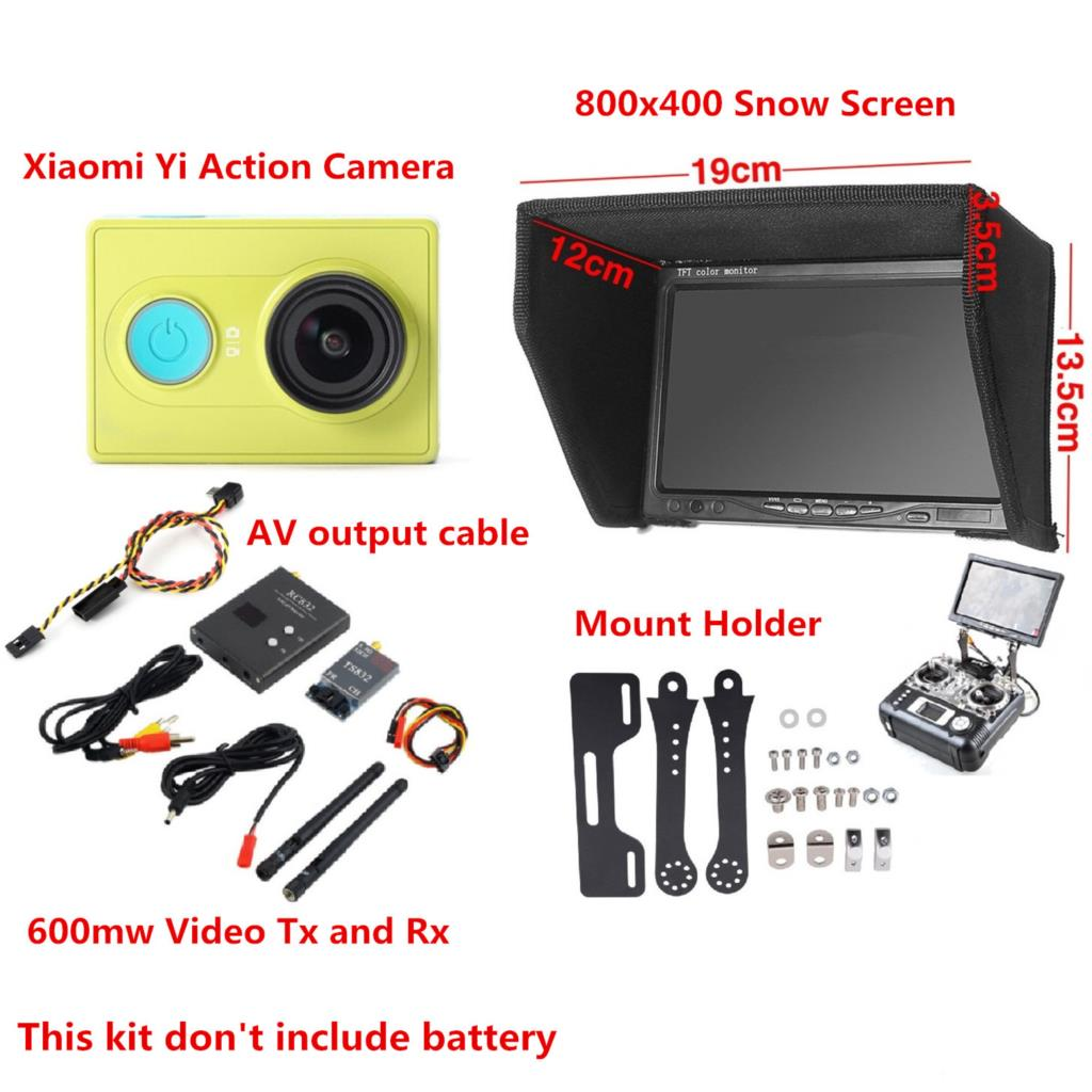 XiaoMi Yi Sport Action Camera FPV Combo Long Range FPV 800x480 Non-blue Monitor + 600mw Tx and Rx + Radio Holder For QAV250 50km long range fpv sets for fixed wings