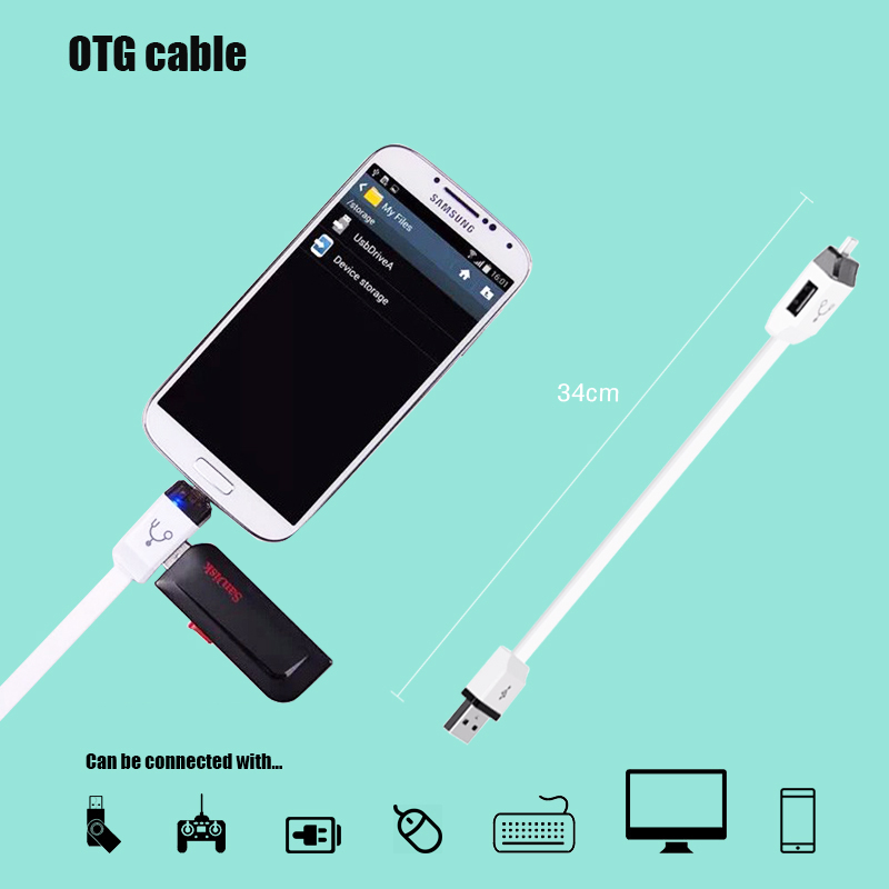 Sovawin 34cm Android Micro USB OTG Adapter Microusb 2.0 Converter Connector Fast Charging Data For Samsung Galaxy S3 S4 S5