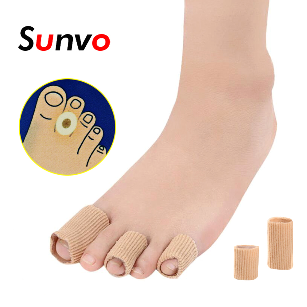 Sunvo Fabric Gel Finger Toes Protective Pad Hallux Valgus Bunion Calluses Corns Paronychia Blister Claw Toe Pain Relief Inserts
