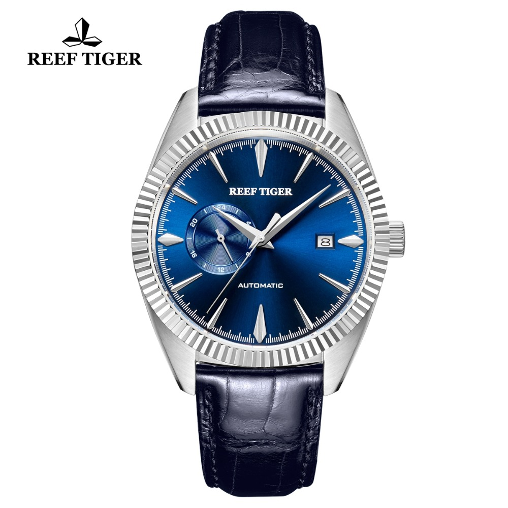Reef Tiger/RT Automatic Dress Watch Men 2018 Top Brand Luxury Watches Genuine Leather Strap Blue Watch Relogio Masculino RGA1616