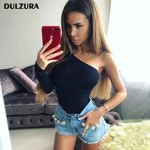 Dulzura cotton one shoulder single long sleeve bodysuit 2018 spring autumn women sexy black solid body