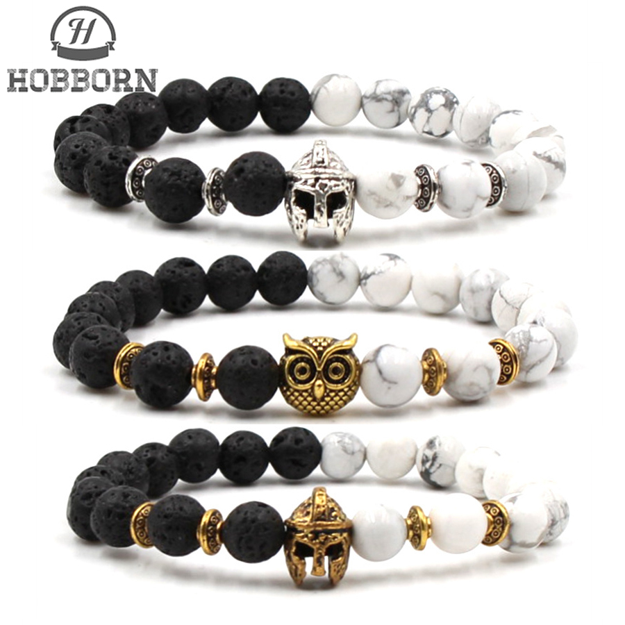 HOBBORN Classic Natural Stone Men Bracelets 8mm Lava White Pine Stone Maix Strand Owl Charm Bracelet For Women Yoga Jewelry Cruz