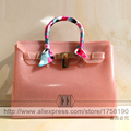 free shipping 2016 New arrival Candy Color high quality Bling pink Lock fashion summer beach bag