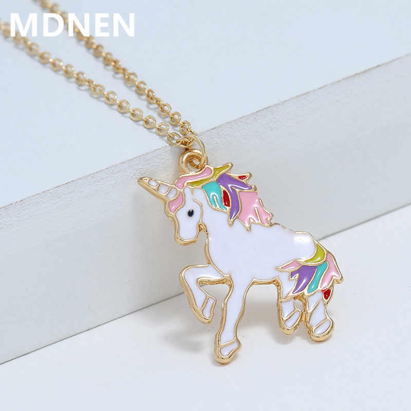 MDNEN 2019 Fashion Women Unicorn Necklace Enamel Cartoon Horse Nacklace for Girls Children Kids Animal Jewelry Accessories