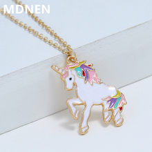 MDNEN 2019 Fashion Women Unicorn Necklace Enamel Cartoon Horse Nacklace for Girls Children Kids Animal Jewelry Accessories(China)