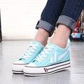 Venda quente das Mulheres Sapatos de Plataforma 2016 Sapatas de Lona Respirável sapatos de Sola Grossa Mulheres Sapato Casual Zapatos Mujer J16