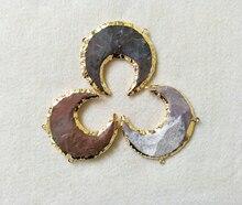 5pcs Gold color Natural Moon Jasper Connector Double Bails Gemstone Agat e geode For DIY Making Bracelet necklace CT16
