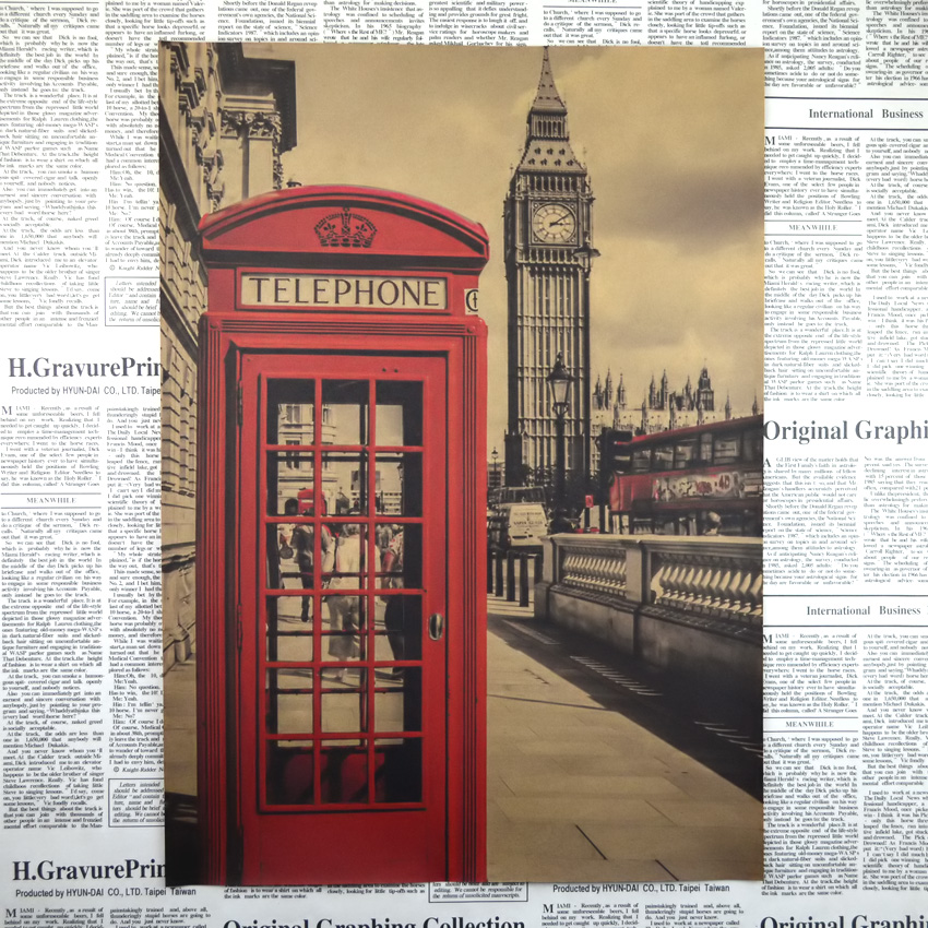 Big ben phone booth retro kraft paper posters wall for Home decorations london