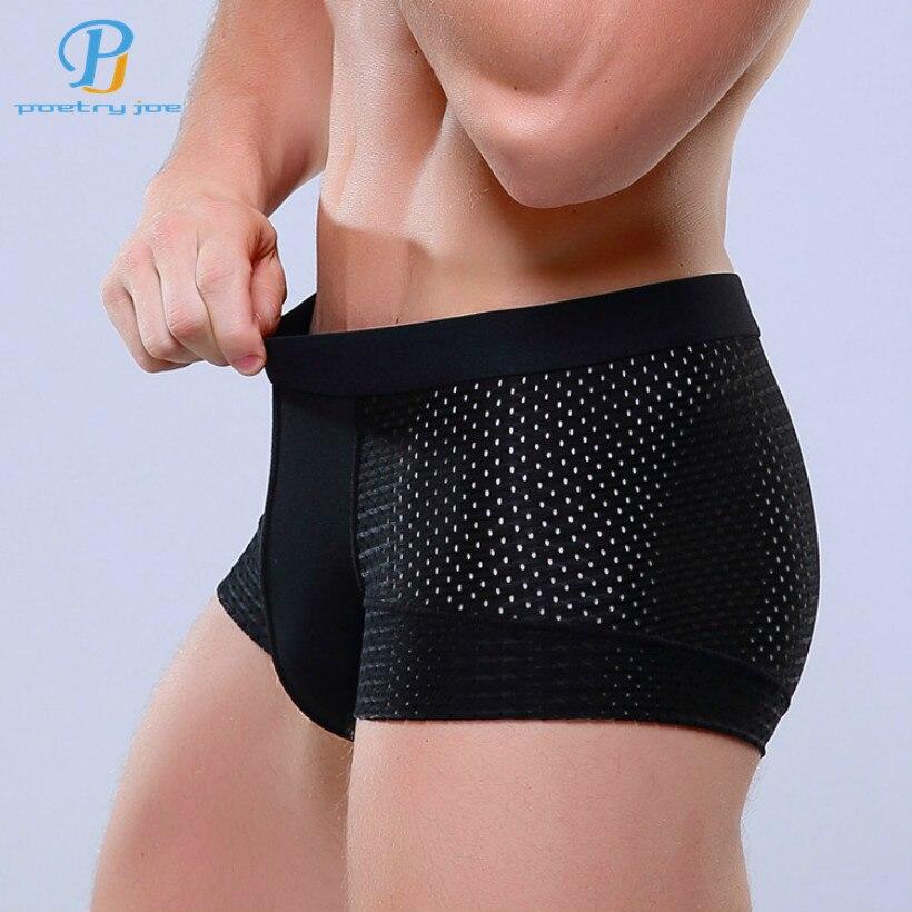 New 2018 Breathable Mesh Silk Men Boxers Four Corner Underwear Wholesale Underwear Men Cotton Mens Bodysuit Underwear