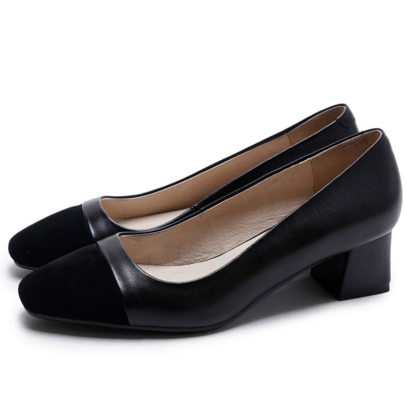 ФОТО Classic Style women real full genuine leather pumps 2017 black khaki 5cm thick heels fashion ladies spring summer office shoes