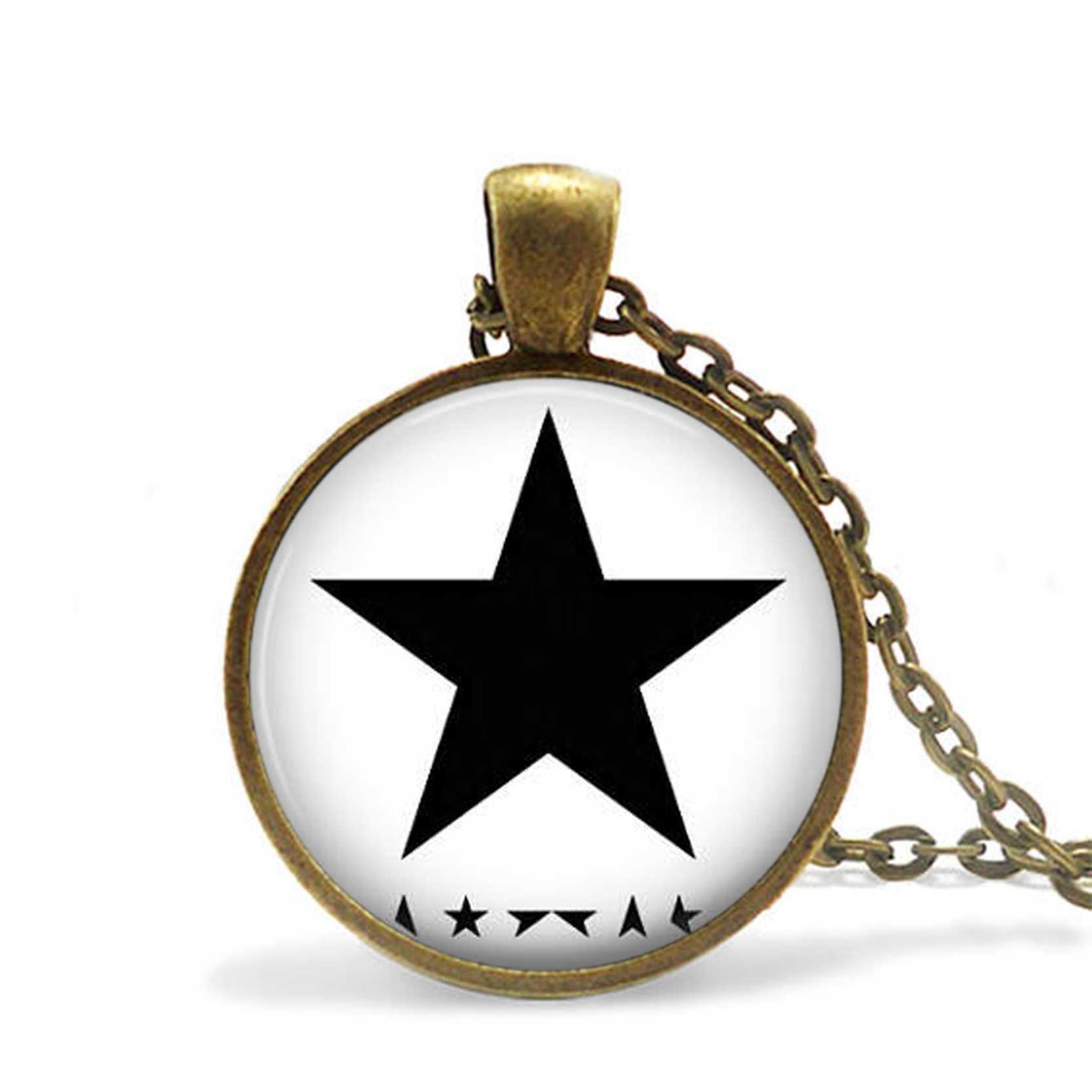 W stylu Vintage japoński sztuki Saint Lucian duży czarny gwiazda naszyjnik wisiorek szkło Cabochon religia biżuteria kobieta mężczyzna dzień matki prezent