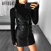 Affogatoo Sexy black PU leather dress sundress Chic pink zipper sash short dress Women summer short dress vestido de festa 2018