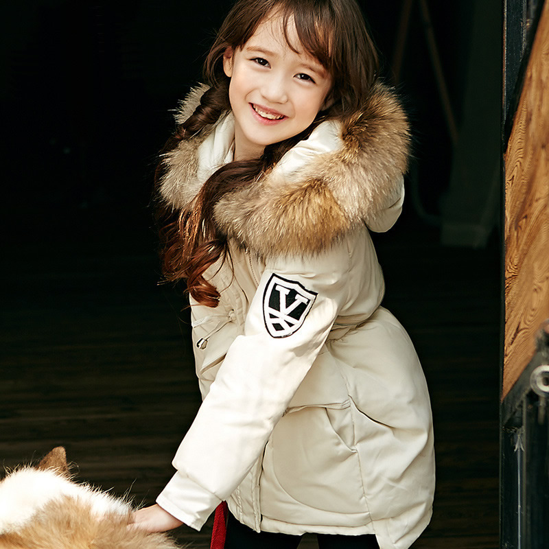 New Winter Baby Girls Clothes White Duck Down Parka Warm Goose Down Jackets For Kid Warm Long Coats Big Fur Hooded For Children 100% white duck down women coat fashion solid hooded fox fur detachable collar winter coats elegant long down coats