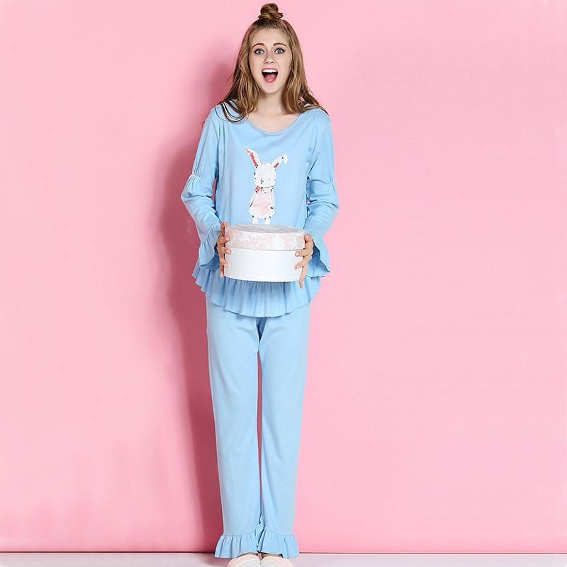 2017 new Spring Autumn Long Sleeve Pregnant Maternity Pajamas Nursing Pajamas Set cartoon lovely Sleepwear for Pregnant Women