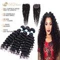 Barato 8A indiano virgem cabelo com encerramento onda profunda indiano do cabelo humano Lace encerramento com 3 Bundles não transformados cabelo humano tece