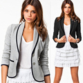 Mulheres Blazer Moda Primavera Short Slim 2016 Novo Design das Mulheres Turn-down Collar Casaco Blazers Preto Cinza Curto jaquetas para as mulheres