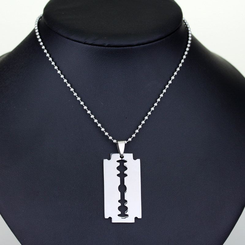 Creative Jewelry Barber Shop Hairdresser Tools Razor Necklace Beard Blade Hiphop Pendants Necklaces Борода