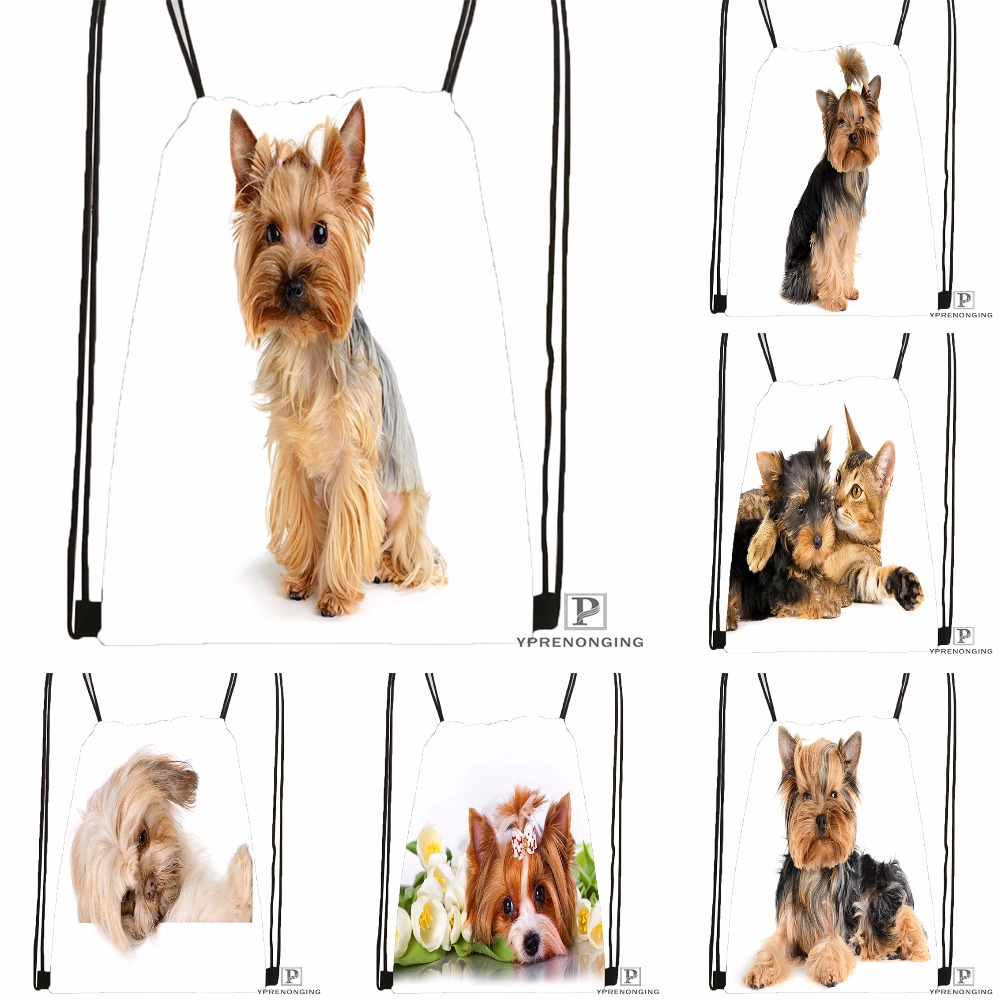 Custom Dogs Yorkshire Terrier Drawstring Backpack Bag Cute Daypack Kids Satchel Black Back 31x40cm 180531 03