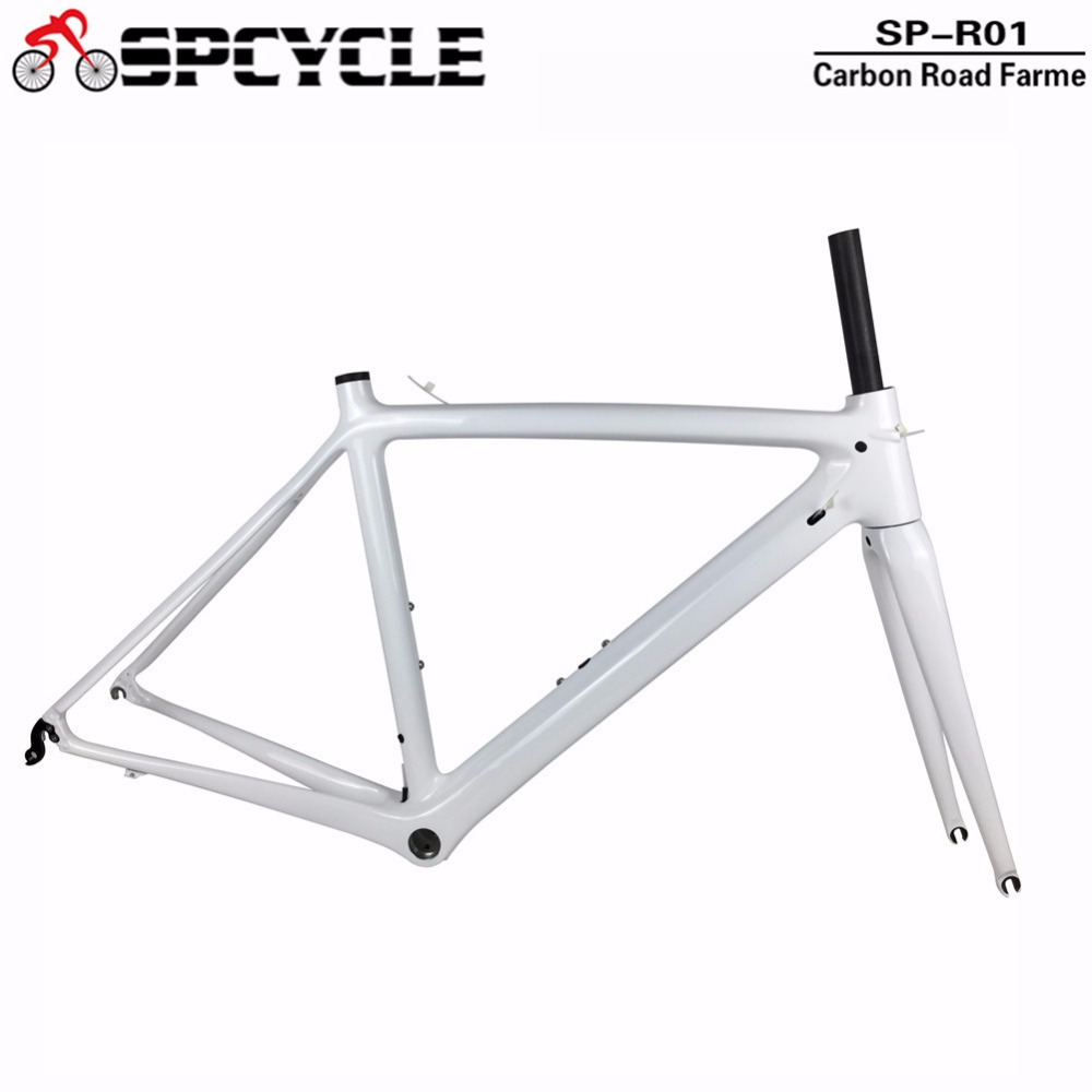 Spcycle 2018 Full Carbon Road Bicycle Frames ,BSA Carbon Racing Road Bike Frames, Carbon Bicycle Frames White Color