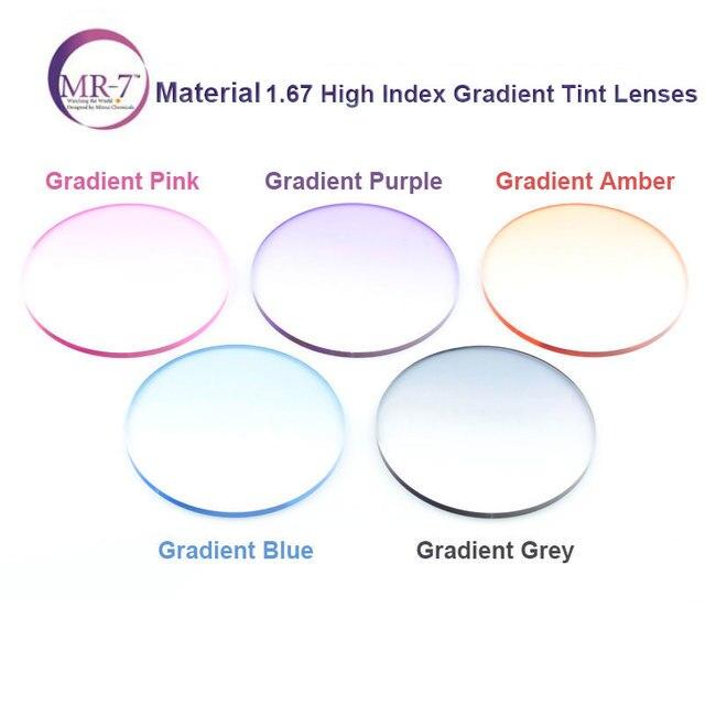 Radiation Protection 1.67 Ultra-Thin MR-7 Super-Tough Gradient Tint HMC EMI Asphere Anti UV Myopia Hyperopia Prescription Lenses