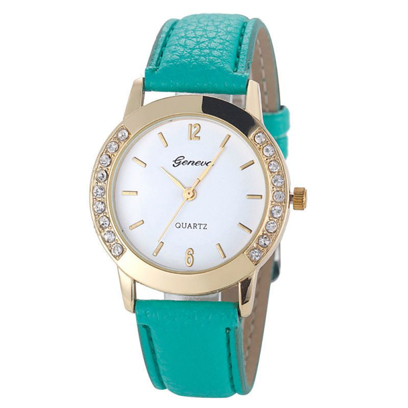 Buy women geneva watch fashion leather stainless steel analog quartz wrist for Watches geneva