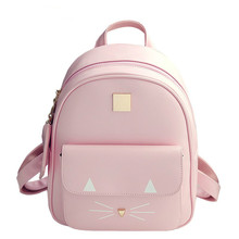 2018 Women Mini PU Leather Backpacks with Cute Cat Printing School Bags for Teenage Girls Small Pink Haversack Mochilas Mujer все цены