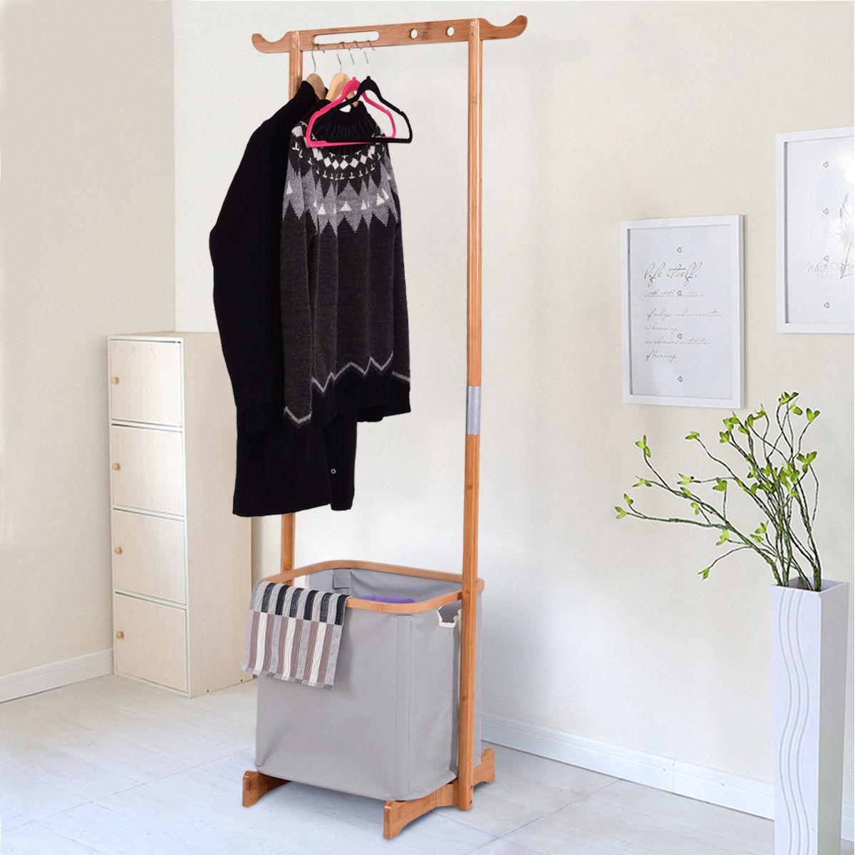 Giantex Bamboo Clothes Drying Rack Portable Laundry Hamper Garment Hanger Storage Clothing Organizer HW56584