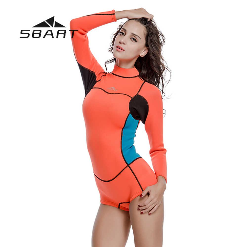 SBART 2mm neoprenu kobiet skafander krótki Kite Surfing nurkowanie z rurką stroje kąpielowe strój kąpielowy strój kąpielowy nurkowanie z aparatem tlenowym jednoczęściowy garnitur plaża wysypka osłona