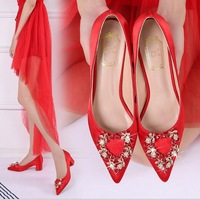 2018 new European American satin red wedding shoes shallow mouth thick with water drill pointed head women's shoes SIZE 34 41