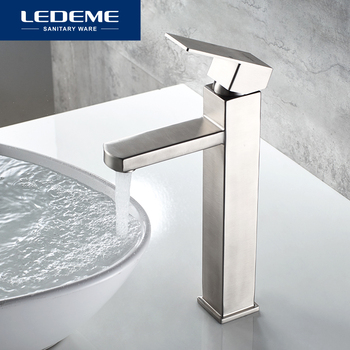 LEDEME Basin Faucet Stainless Steel High foot Bathroom Tap Bath Mixer Sink Faucet Single Handle Faucets L71133 1