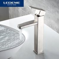 LEDEME Basin Faucet Stainless Steel High foot Bathroom Tap Bath Mixer Sink Faucet Single Handle Faucets L71133
