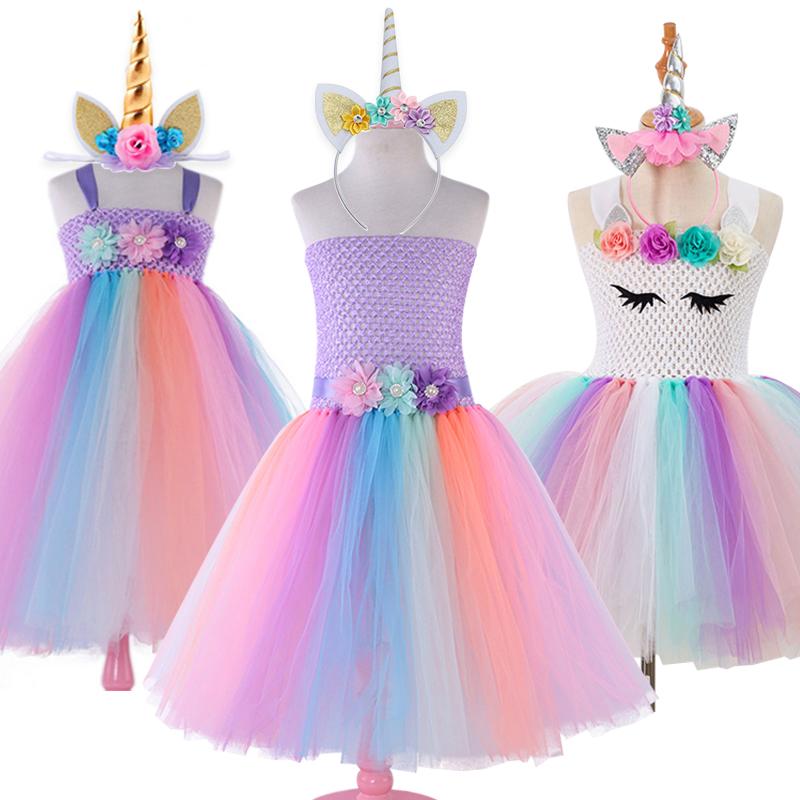Flower Girls Unicorn Tutu Dress Rainbow Princess Girls Birthday Party Dress Children Kids Halloween Costume With Headgear 1-12Y