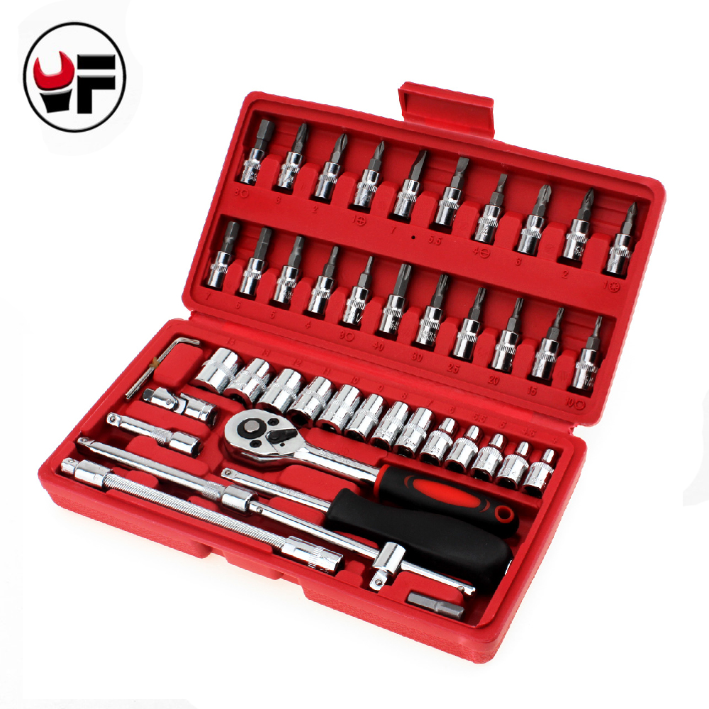46pcs Torque Wrenches 1/4-Inch Socket Wrench Set Car Repair Tool Ratchet Set Torque Wrench Combination Bit A Set Of Keys