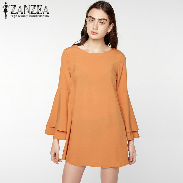 2017 ZANZEA Women O Neck Long Flare Sleeve Casual Party Club Mini Dress Sexy Backless Solid Ruffles Short Vestido Plus Size
