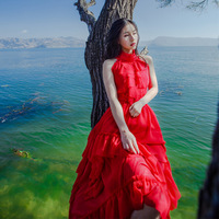 New Fashion 2018 Designer Boho Irregular Halter Red Long Dress Women's Bohemia Frill Asymmetrical Dress Honeymoon Trip Clothes