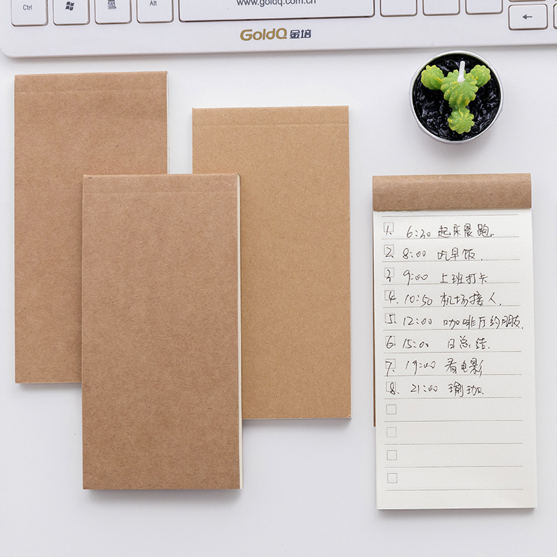 Korean Cute Kraft Note Creative To Do List Paper Memo Pad Novelty Travel School Office Stationery Notepad Planner Shopping Check