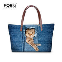 Blue Jean Lovely Cat Women Handbag Top Quality Shoulder Bags Designer Lady Messenger Top Handle Bags