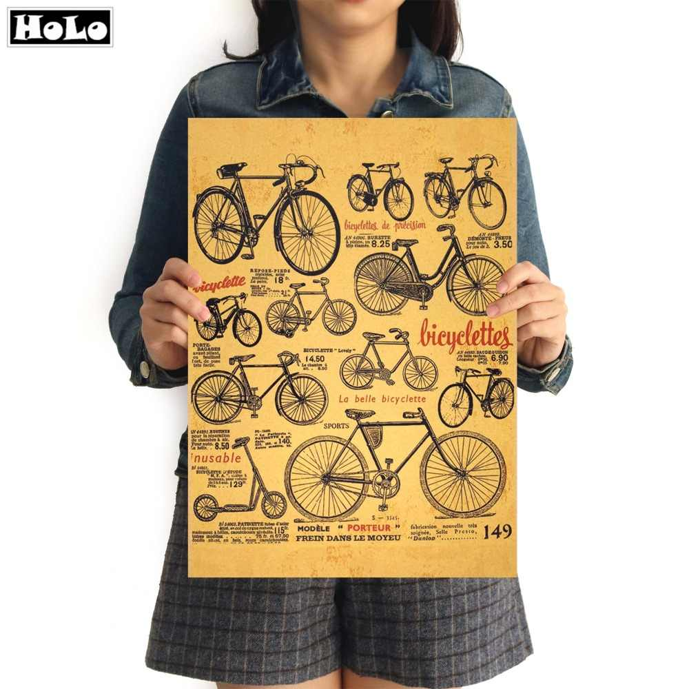 Bicycle Chart Vintage Poster Retro High Quality Kraft Paper Painting Living Room Cafe Pub Bar Wall Sticker 42x30cm GGA023