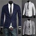 Homens blazers Moda Silm Fit Elegante Mens Pescoço V One botão Preto Blazer Terno 2016 Primavera Outono Marca Casaco de Negócios jaqueta