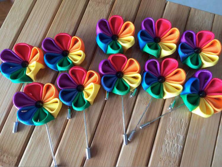 70 PCS/Banyak Rainbow Pride 100% Manual Lesbian Gay Pesta Pernikahan Pelangi Pin LGBT Kerah Bunga Lencana