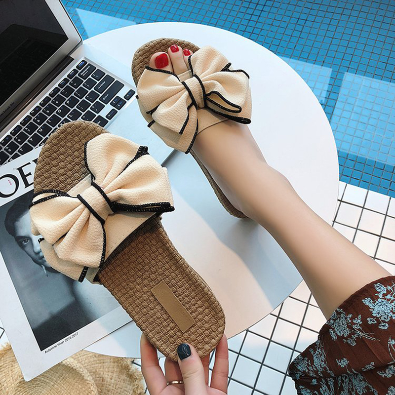 9e65281273bba new beach slippers women summer bow thick bottom slip on shoes woman straw  knitting fisherman sandals