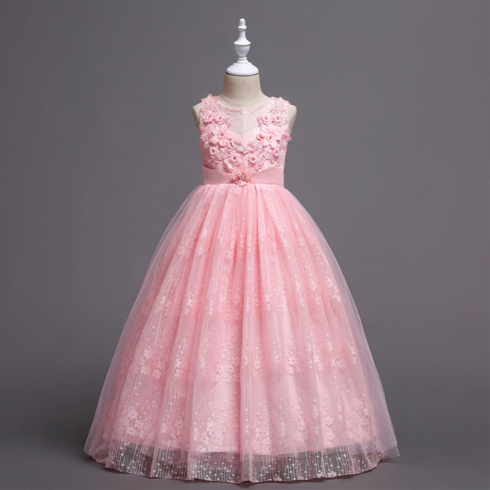 Fashion gown girls mesh flower dress clothes kids lace sleeveless teen dresses for girls dress fashionable sweetheart neckline sleeveless lace spliced dress for women