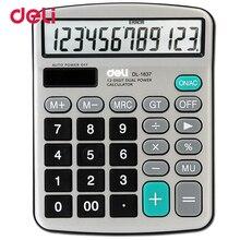 Deli 12 cijfers metalen paneel rekenmachine klassieke grote rekenmachine kantoor Zonne Dual Voeding Calculator chancery gift