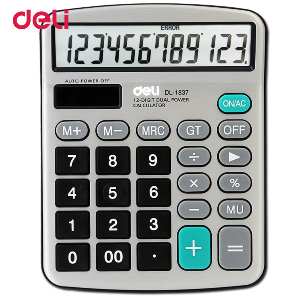 Deli 12 Digits Metal Panel Desktop Calculator Classical Large Dual Power Supply Office Solar Chancery Gift In Calculators From