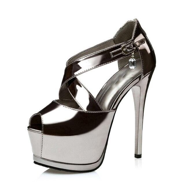 4 цвет черный золото серебро женщины металлик горный хрусталь крест ремешок насос босоножки на платформе ultray очень высокий каблук cut out роман обувь