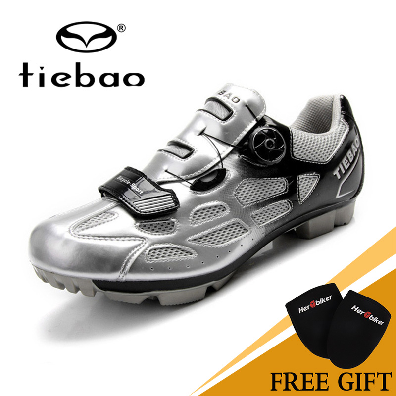 Tiebao Cycling Sport Mountain Biking Shoes Self-Locking Breathable Athletic Cycling Shoes Unisex MTB Cycling Shoes Silver tiebao bike self locking magic tape bicycle shoes keep warm cycling sport professional cycling shoes mountain biking shoes