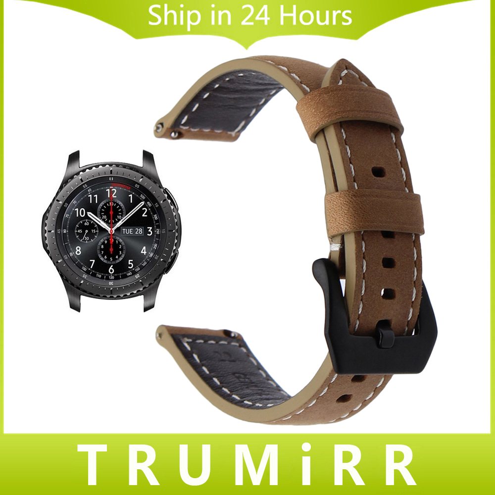 Buy 22mm Italy Genuine Leather Watchband Quick Samsung Gear S3 Frontier Double Side Strap Only Release For Galaxy Watch 46mm Steel Buckle Band Wrist Bracelet From