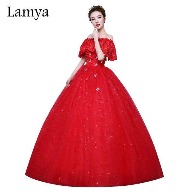 e11c6001bc1 LAMYA marque De mode princesse grande taille rouge dentelle Cap manches robe  De mariée 2018 à